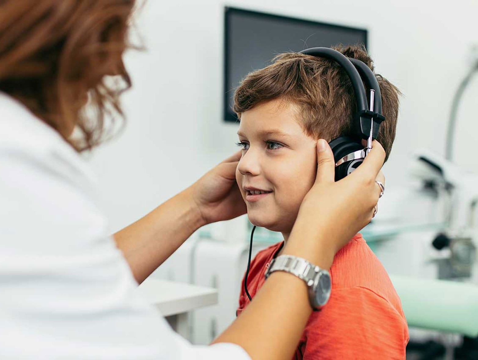 young boy during hearing test