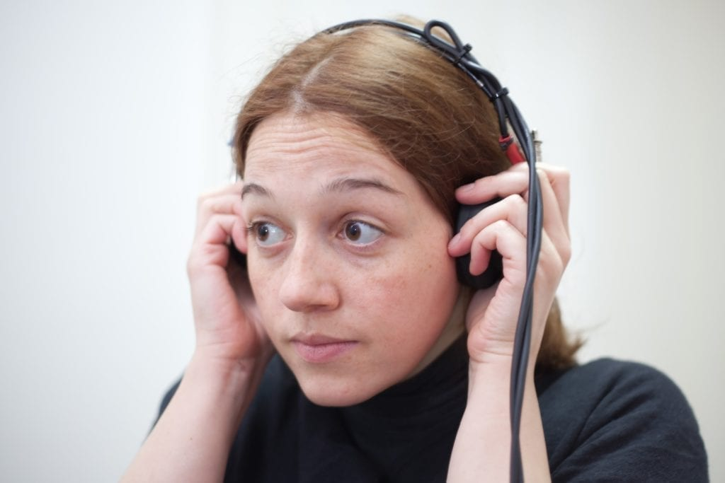 woman during hearing test